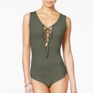 Iris Green Ribbed Bodysuit Lace Up Front One-Piece